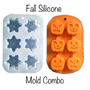 Fall Silicone Mold Combo Set! 2 each Snowflake and Pumpkin Molds